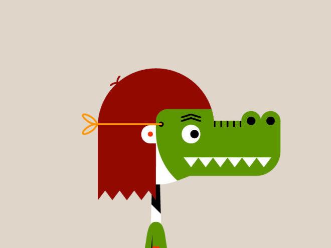 Masker krokodil grijs rechts