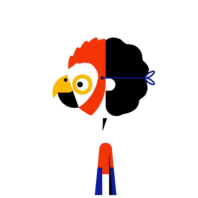 Masker papegaai trans links